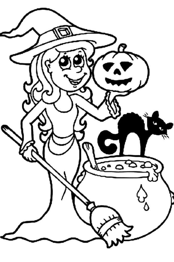 Dibujo de Halloween para colorear de bruja con caldero
